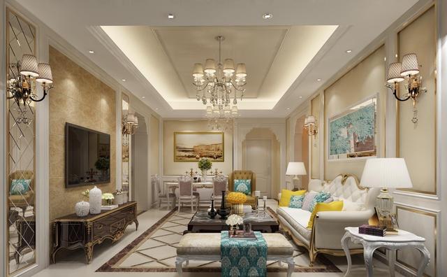 惬意,浪漫,豪华大气的欧式风格客厅效果图(23张)图片
