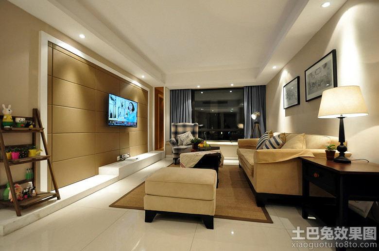现代简约客厅装修硬包电视背景墙效果图 高清图片