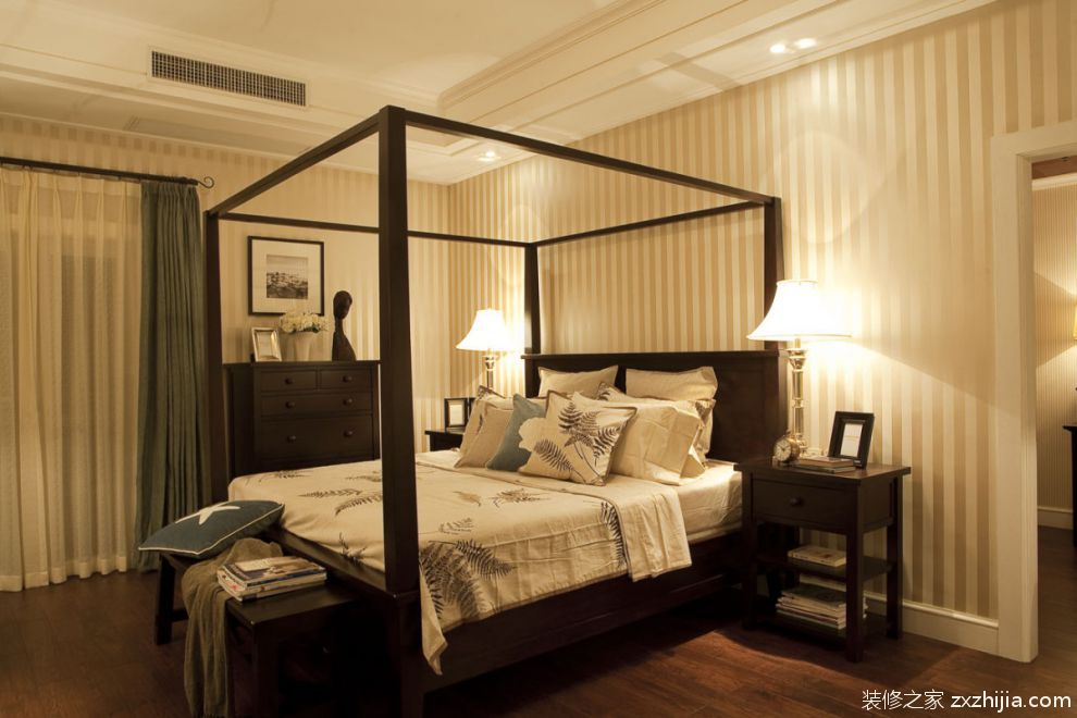 美式复古风格卧室装饰设计_装修之家装修效果图图片