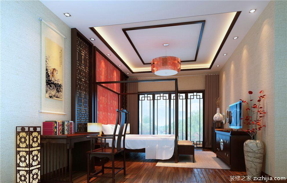 中式暖色系素雅卧室装修效果图片_装修之家装修效果图图片