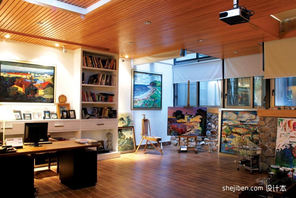 混搭风格样板房时尚家居书房吊顶书柜电脑桌椅子装修效果图 高清图片