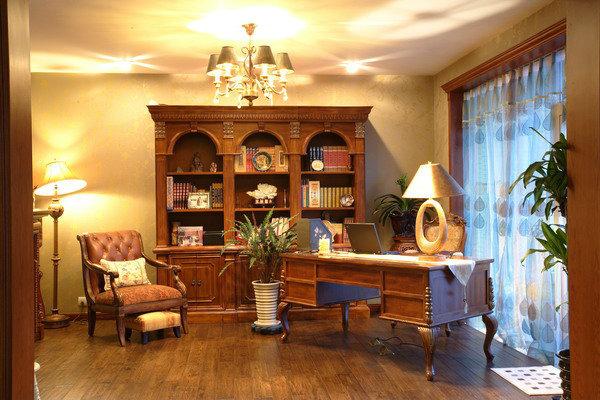 中式混搭风格书房装修效果图_设计案例_太平洋家居网高清图库图片