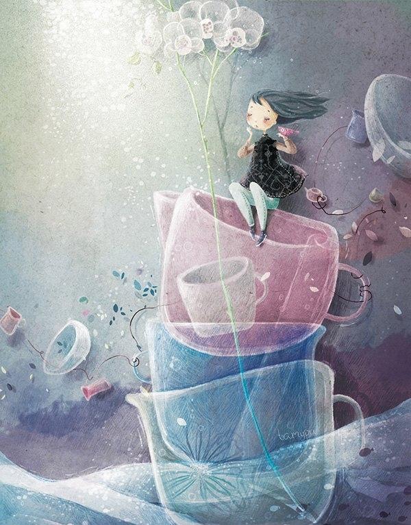 安静少女系!温馨满满的小心思,创意生活平面插画设计图片