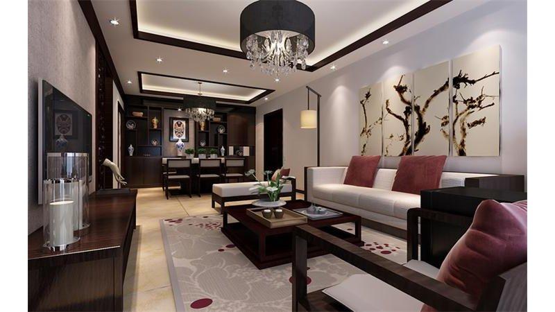 5-10万80平米中式二居室装修效果图,新中式装修案例效果图-齐家装修网图片