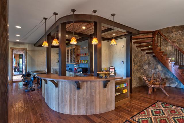 美式乡村度假别墅 酒柜吧台原木色装修质朴不失时尚