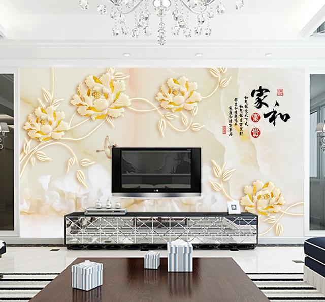 原创 老式电视背景墙过时不耐看,现在都用3d无纺布墙纸,形象又逼真图片