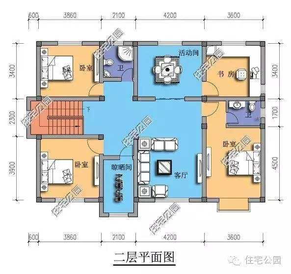 自家盖房子还是实用最舒服,14x9米2层别墅大气利落图片