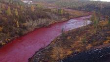 俄罗斯一河流变成血红色