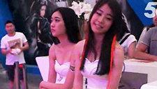 chinajoy2014美女showgirl 白裙性感小前台