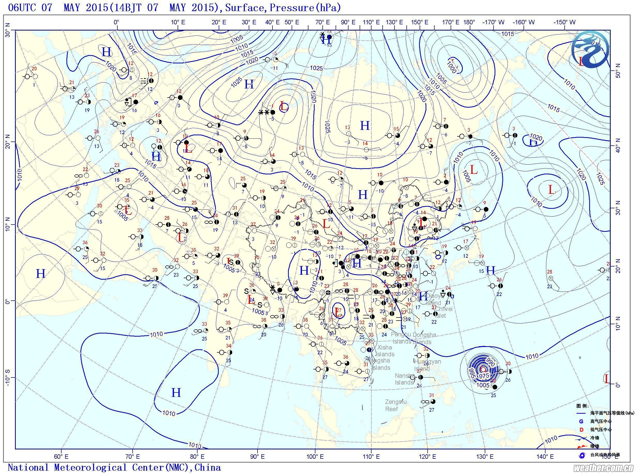 5月7日14时修正海平面气压图图片