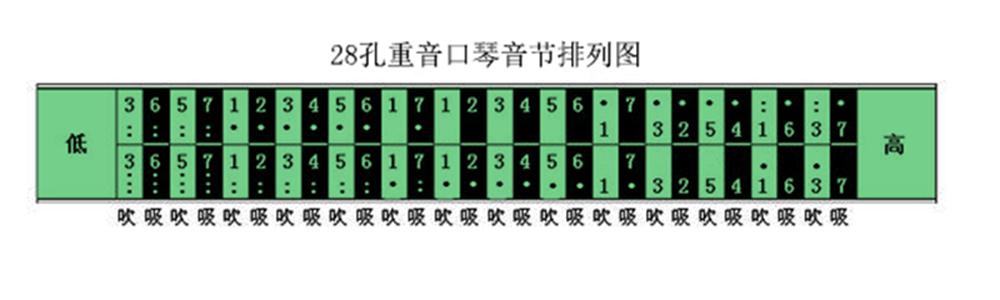 28孔【重音】口琴音阶图图片