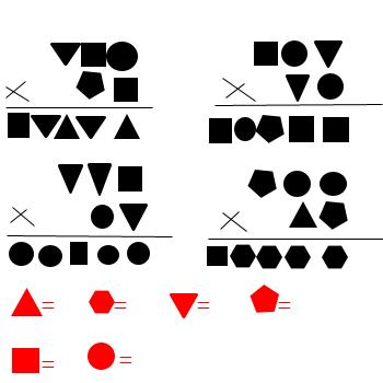正方形 圆形代表三个数 并且两个三角形=三个正方形=四个圆形,三角形图片