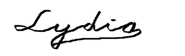 想求英文名字lydia的签名设计.非常感谢图片