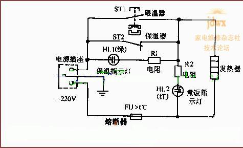 简单电路原理图-式电饭锅的工作电路图图片