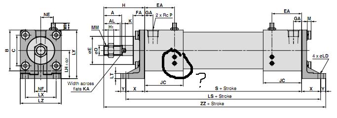 请问高速气缸外形尺寸图上两个调节镙钉下的四个螺纹状圆代表什么?图片