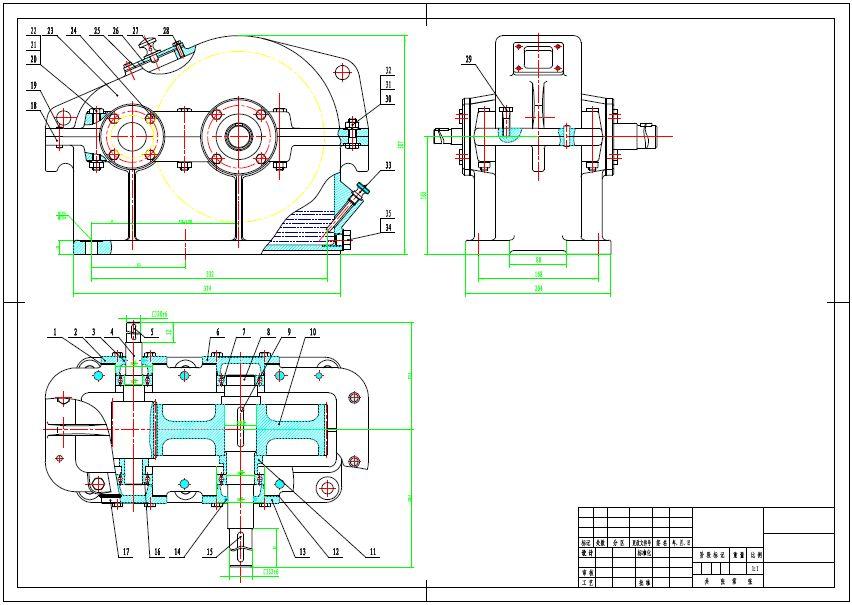 求cad一级减速器装配图-一级减速器装配图