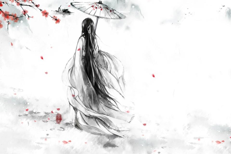 手绘古风美女背影