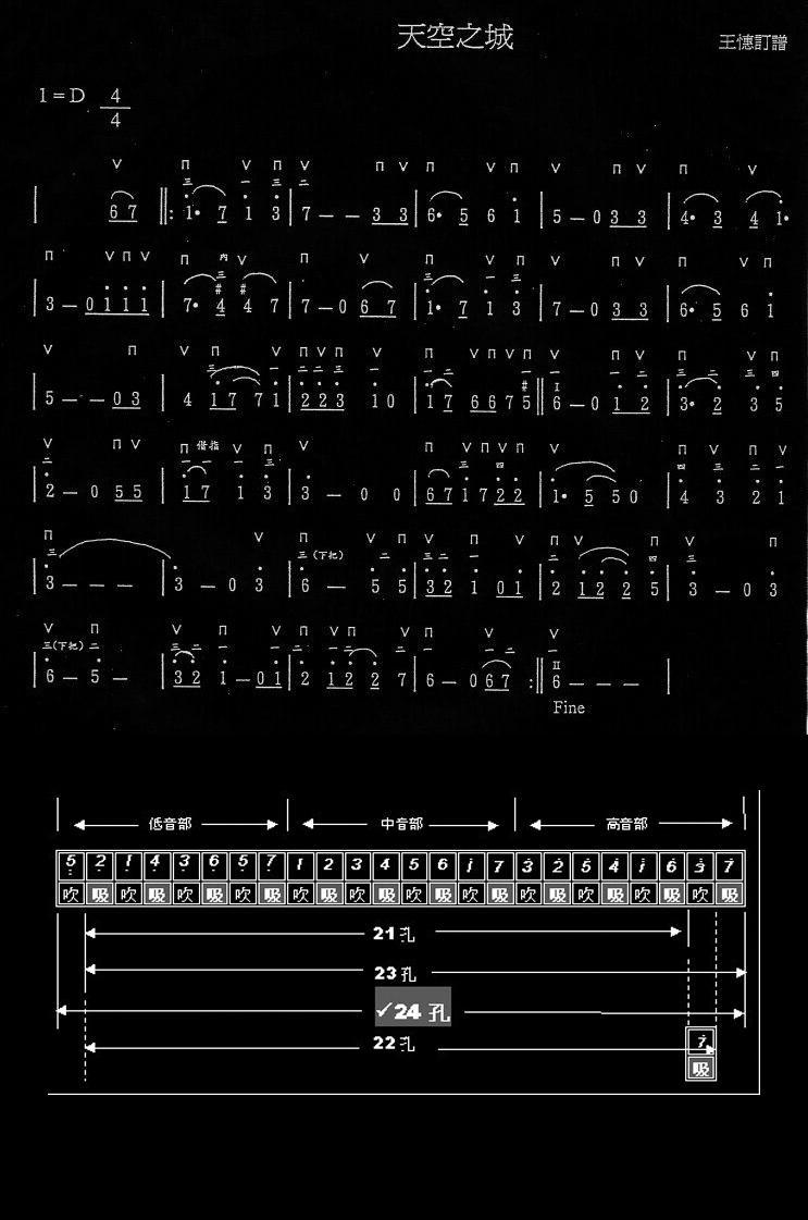 求天空之城的24孔口琴简谱图片