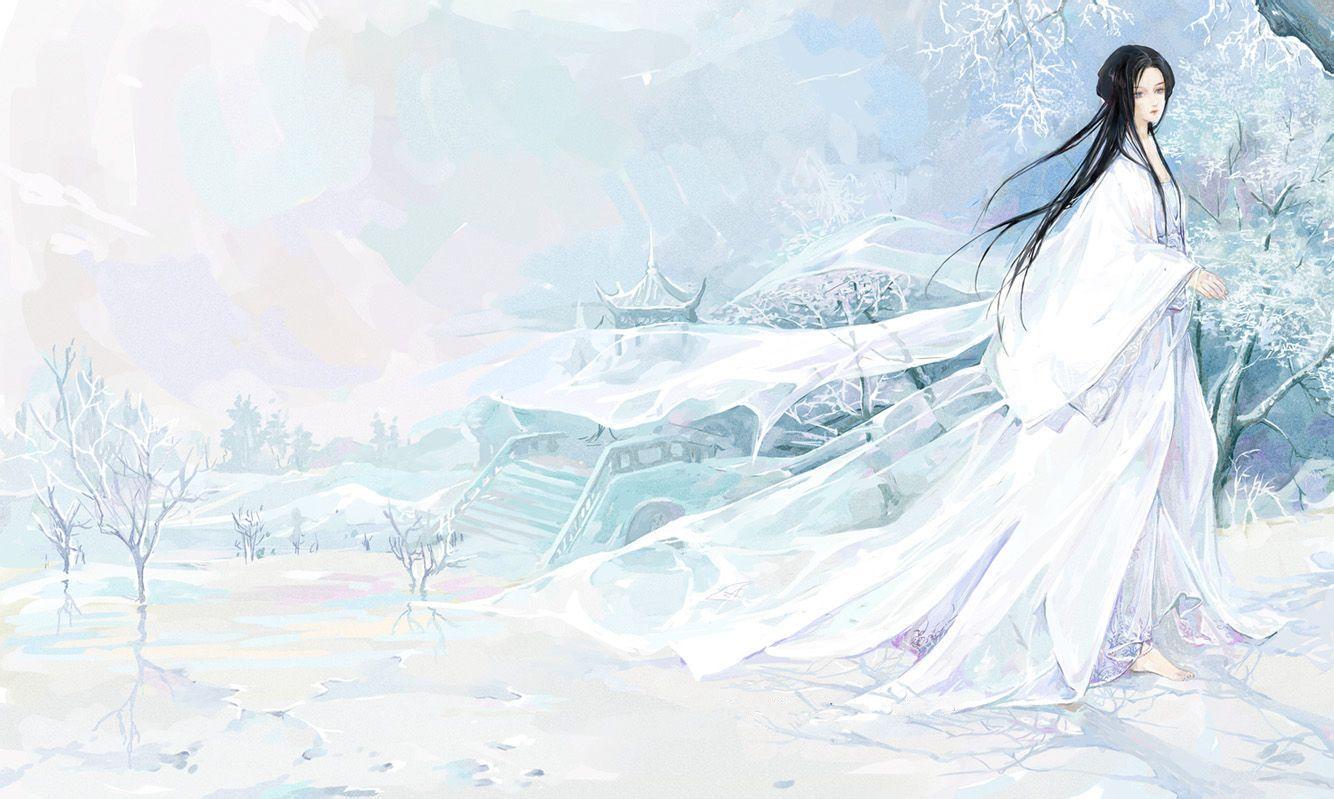 求做女生头像 整体淡蓝色 古风的 类似水墨风的 可以在图中加上名字