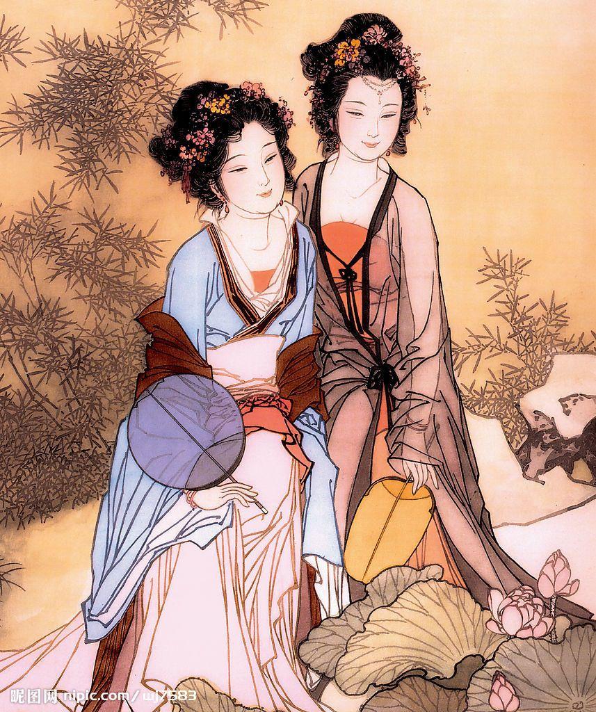 找一张里有两个古代女子的图片