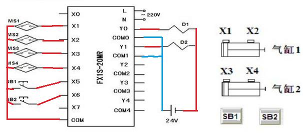 接线示意图如上,y0,y1通电图片