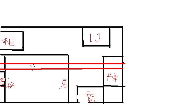 那条刚好把房间一分为二,怎么挪都是压床的.图片