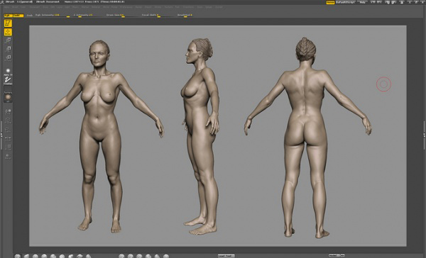 3d人物模型三视图 游戏中的男女角色,maya模型 高清图片