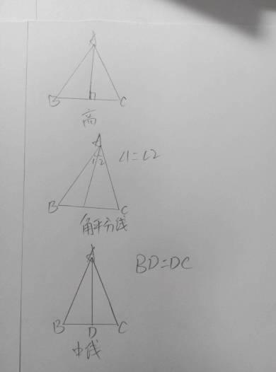 在三个三角形分别画出高,中线,角平分线图片