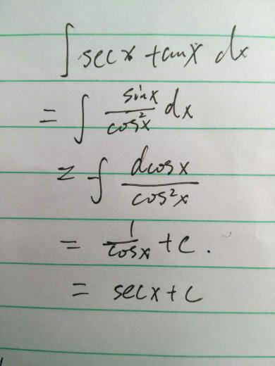 积分中tanx和secx咋换