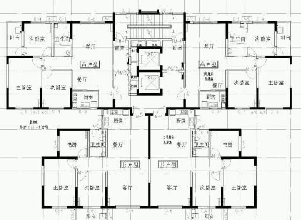 帮我看看这个户型的优缺点,两梯四户,客厅朝南,通风么图片