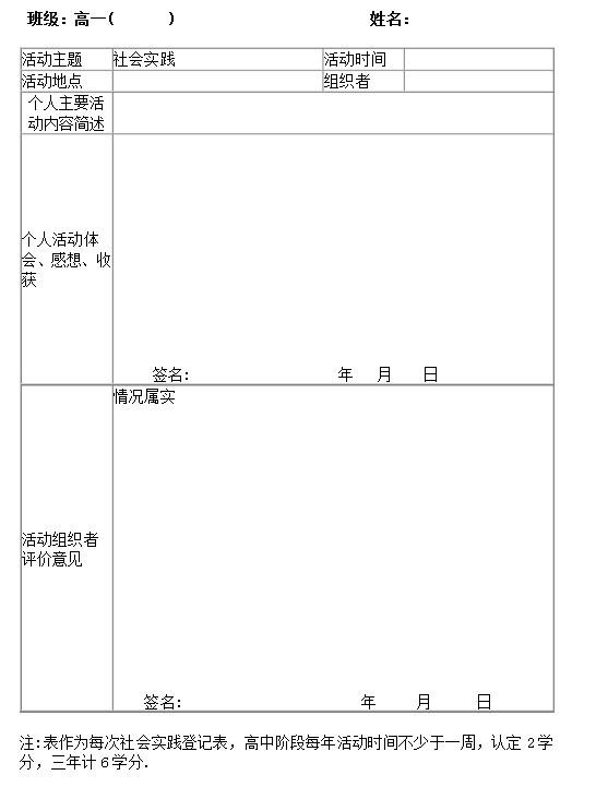 填写高中生社会实践活动记录表