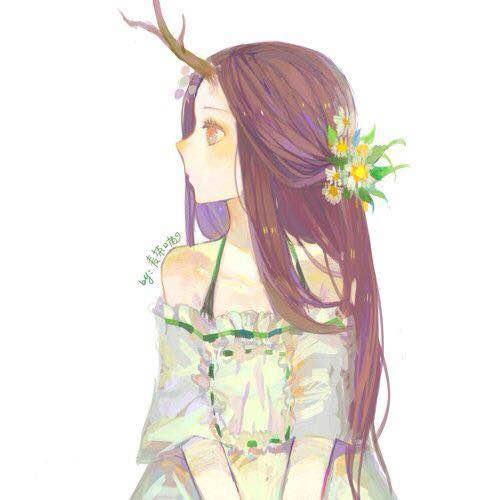 森系动漫带鹿角的女生图片图片