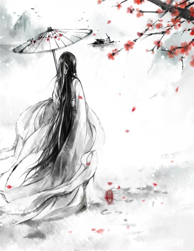 古风的撑伞少女 背影