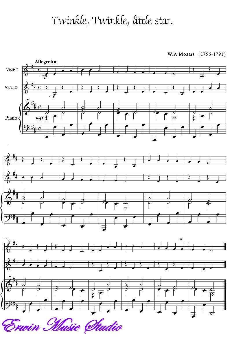 小提琴曲一闪一闪小星星图片