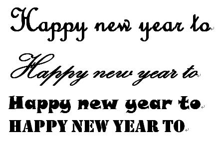 """英文花体字""""happy new year""""以及""""to""""的写法.要图,可图片"""