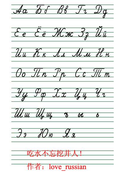 请手写一下俄语字母的大小写,标准点哦图片