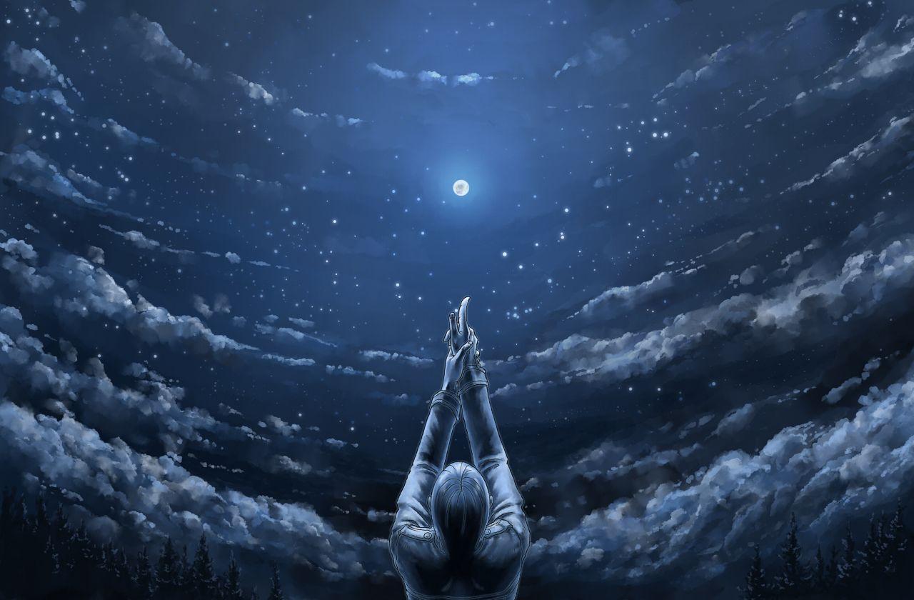 二次元唯美安静夜空图 要有一对情侣(不是也可以 但要