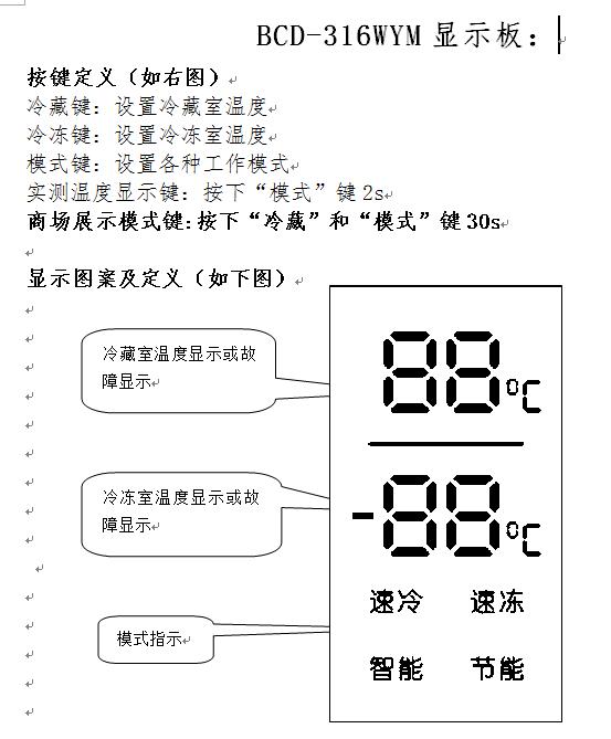 容声冰箱bcd-316wym门温度数为什么直亮?图片