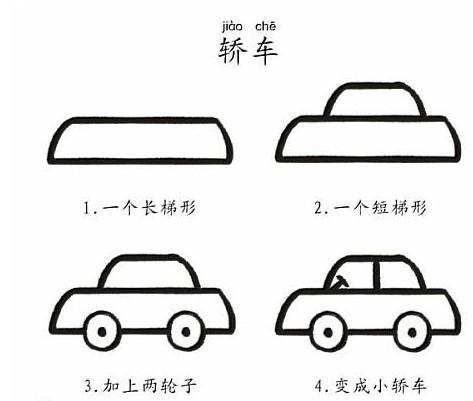 儿童怎样画气车图片