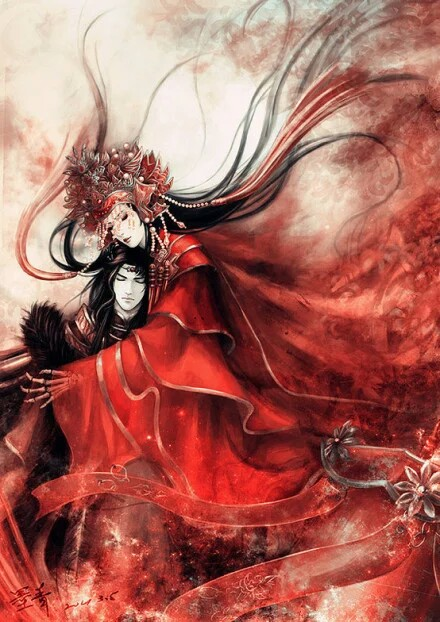 古风动漫红衣男子抱着已死的女子图片