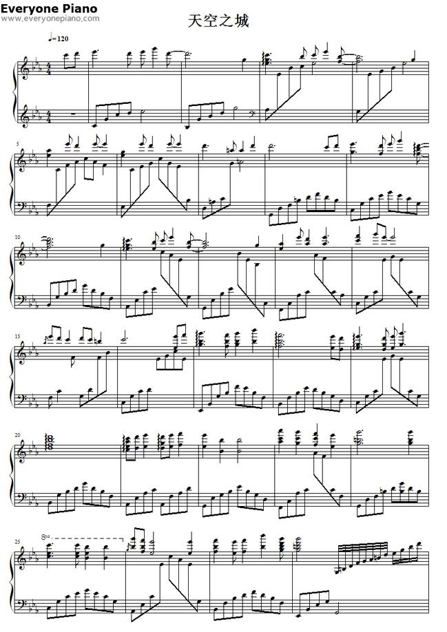 天空之城钢琴曲双手简谱要图片带歌词第一个肯定采纳!图片