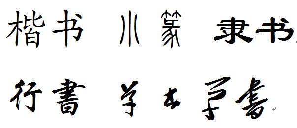 楷书,小篆,隶书,行书,草书,如何鉴别这三种字体?图片