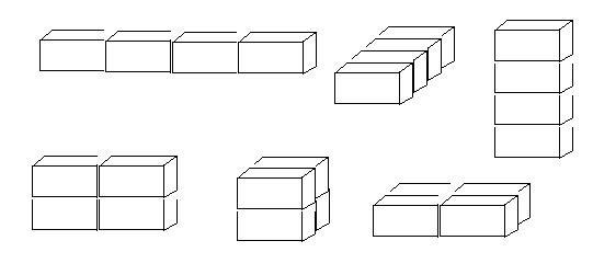 用4块完全一样的正方体可以拼成