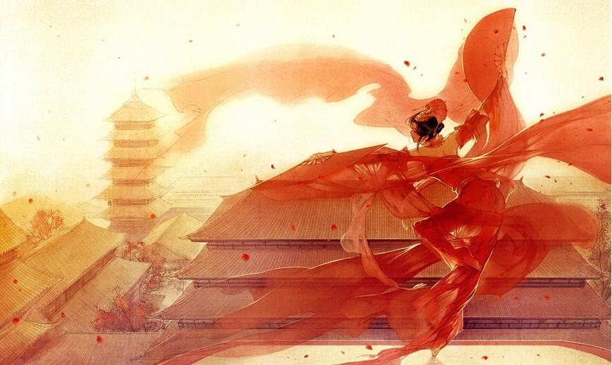 求古代女子跳舞的丹青图