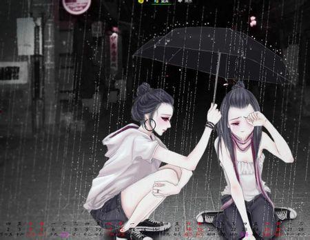 一个蹲着给另一个打伞
