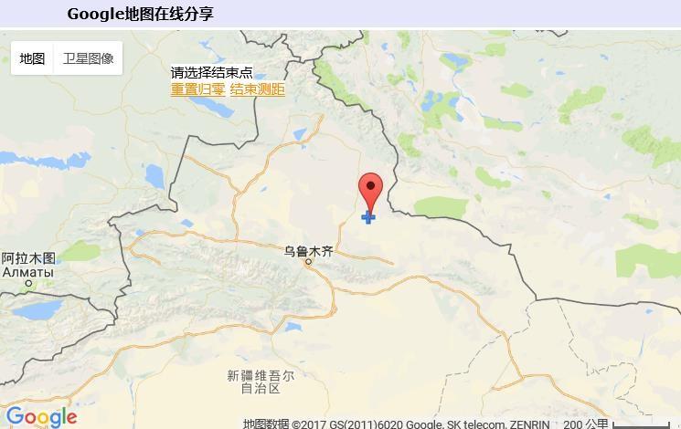 北纬45度,东经90度 在新疆,具体是北疆的奇台县北部,接近中,蒙边 境