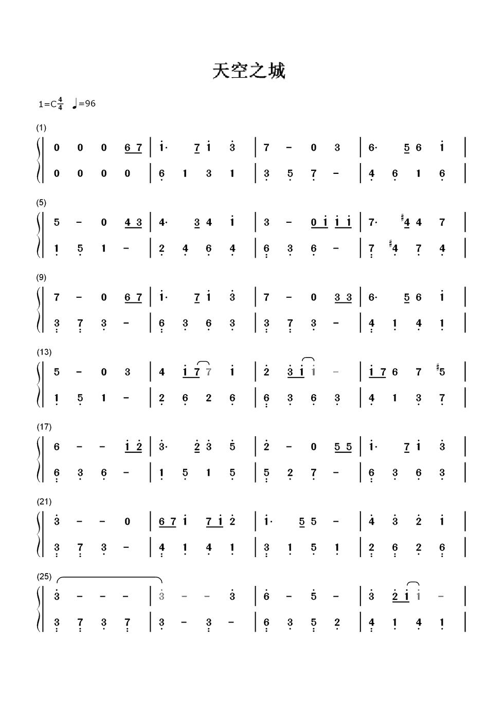 天空之城钢琴数字简谱图片