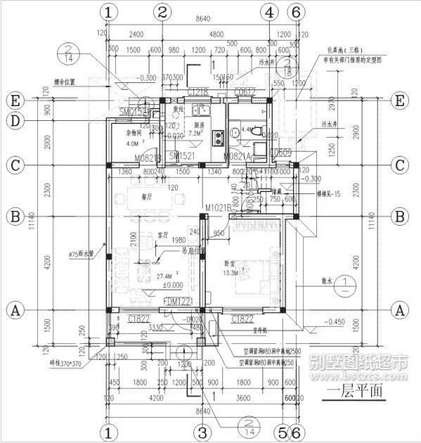 求一张农村房子的图纸!15米长10米宽!三房一厅一厨一卫!图片