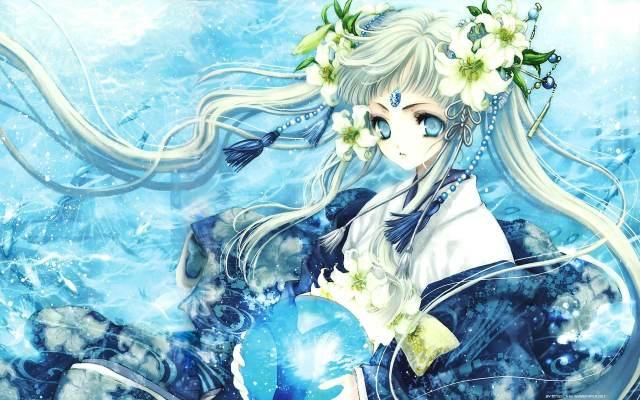 求冰蓝色眼眸和 头发 的 动漫少女 图片 冰蓝色,银 蓝色 或粉色长发的 图片