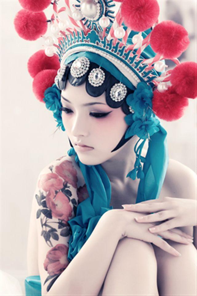 求京剧女孩 蓝色妖媚的高清套图